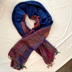 Cashmere and silk pashmina scarf fringed long